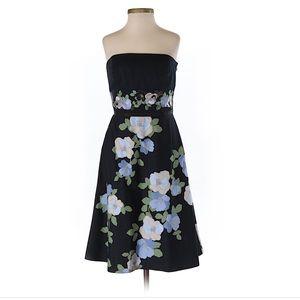 Ann Taylor Loft 0P Strapless Navy Floral dress